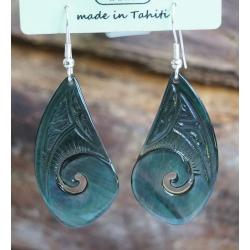 Boucles d'oreilles nacre de Tahiti Coquillage N°7