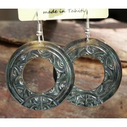 Boucles d'oreilles nacre de Tahiti Disque N°2