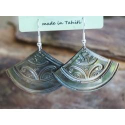 Boucles d'oreilles nacre de Tahiti Eventail N°10