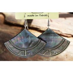 Boucles d'oreilles nacre de Tahiti Eventail N°2