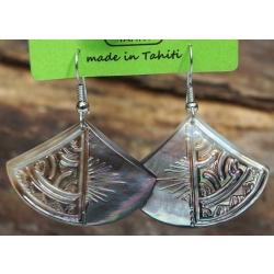 Boucles d'oreilles nacre de Tahiti Eventail N°8