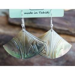 Boucles d'oreilles nacre de Tahiti Eventail N°9