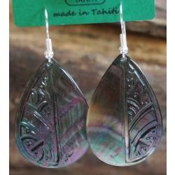 Boucles d'oreilles nacre de Tahiti Maxi Gouttes N°3