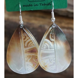 Boucles d'oreilles nacre de Tahiti Maxi Gouttes N°6