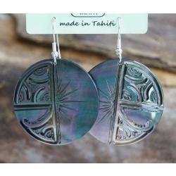 Boucles d'oreilles nacre de Tahiti N° 12