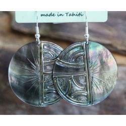Boucles d'oreilles nacre de Tahiti N° 6
