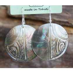 Boucles d'oreilles nacre de Tahiti N° 9