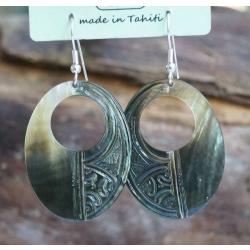 Boucles d'oreilles nacre de Tahiti Ovale perçé N°3