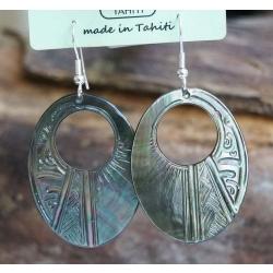 Boucles d'oreilles nacre de Tahiti Ovale perçé N°4