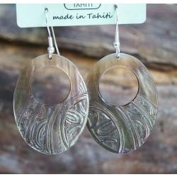 Boucles d'oreilles nacre de Tahiti Ovale perçé N°5
