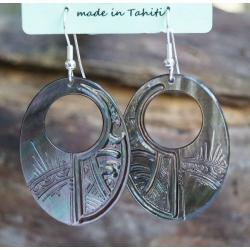 Boucles d'oreilles nacre de Tahiti Ovale perçé N°6