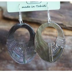 Boucles d'oreilles nacre de Tahiti Ovale perçé N°8