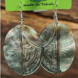 Boucles d'oreilles nacre de Tahiti Ovales N°10