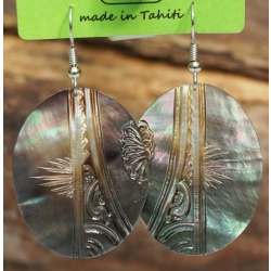 Boucles d'oreilles nacre de Tahiti Ovales N°12