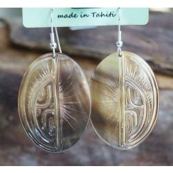 Boucles d'oreilles nacre de Tahiti Ovales N°13