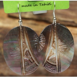 Boucles d'oreilles nacre de Tahiti Ovales N°2