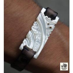 Bracelet cuir et Nacre N°1