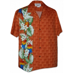 Chemise Hawaïenne SIDE PARROTS ORANGE