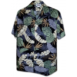 Chemise Hawaienne BLACK LEAVES