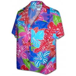Chemise Hawaienne EIGHTIES PURPLE