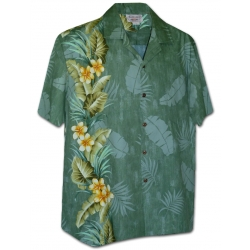 Chemise Hawaienne EXOTIC FLOWERS BAND Verte