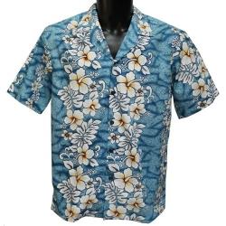 Chemise Hawaienne Floral lines ciel