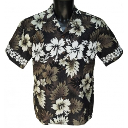 Chemise Hawaienne Hibiscus and Fern Black