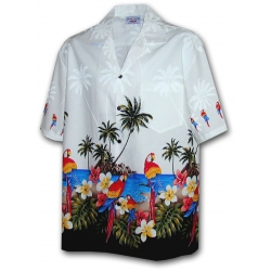 Chemise Hawaienne L'ILE AUX PERROQUETS
