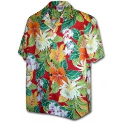 Chemise Hawaïenne MAUNA LANI ROUGE