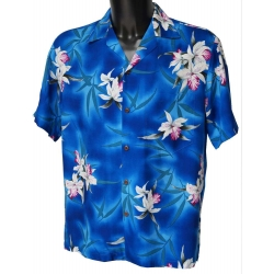 Chemise hawaienne MIDNIGHT ORCHID BLUE