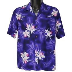 Chemise hawaienne MIDNIGHT ORCHID PURPLE