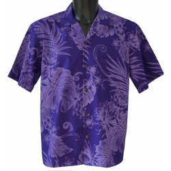 Chemise hawaienne MONSTERA CERES IN PURPLE