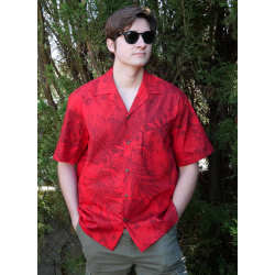 Chemise hawaienne MONSTERA CERES IN RED
