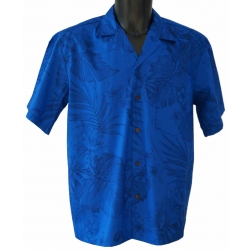 Chemise hawaienne MONSTERA CERES IN ROYAL BLUE