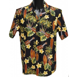 Chemise Hawaienne MUSIC AND SURFS NOIR