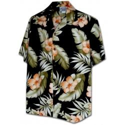 Chemise Hawaienne ORANGE HIBISCUS