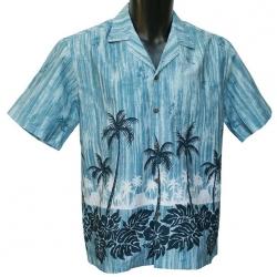 Chemise Hawaienne Palms Hawaiian Village Bleu