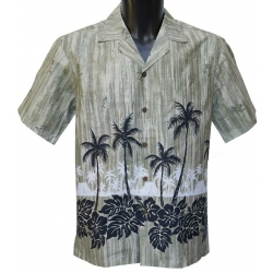 Chemise Hawaienne Palms Hawaiian Village Kaki