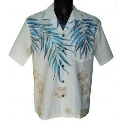 Chemise Hawaienne Shoulder Fern White