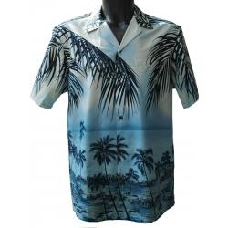 Chemise hawaienne SOUS LES COCOTIERS BLEU