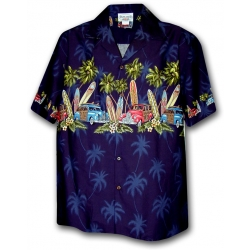 Chemise Hawaienne SURF MEETING marine