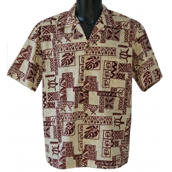 Chemise hawaienne TAPA RED