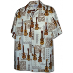 Chemise Hawaienne TATOO MUSIC CREME