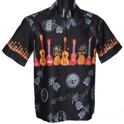 Chemise Hawaienne Ukulélé noir