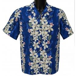 Chemise hawaienne VINTAGE PLUMERIA BLUE