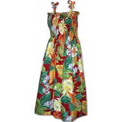 Robe Hawaienne MAUNA SMOCKS Rouge