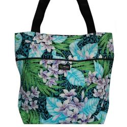 Sac fourre-tout reversible Tahiti Plumeria Turquoise