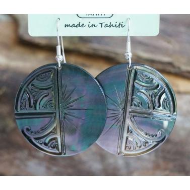 Boucles d'oreille nacre de Tahiti