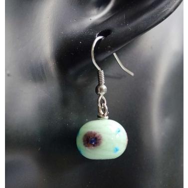 Boucle d'oreille bicolore en verre filé