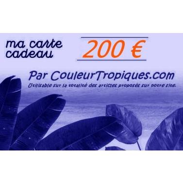 carte cadeau couleurtropiques 200 Euros
